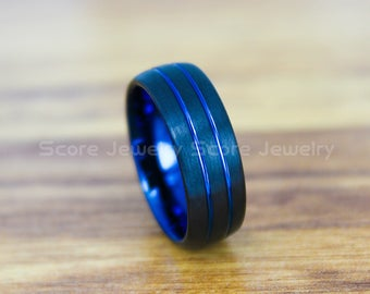 FREE SHIPPING Custom Engraved Black Tungsten Wedding Band Black Tungsten Wedding Ring 8mm Black Tungsten Band with Two Blue Grooves