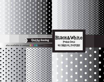 Black and White Polka Dots Digital Paper, Gray Polka Dots Paper, Grey Ombre Polka Dots Paper, Polka Dots Digital Paper, Digital Paper Pack