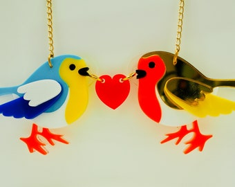 Womens jewellery, laser cut acrylic, plastic, perspex, bird necklace