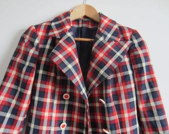 Vintage Super Fitted Tartan Jacket UK10 US6