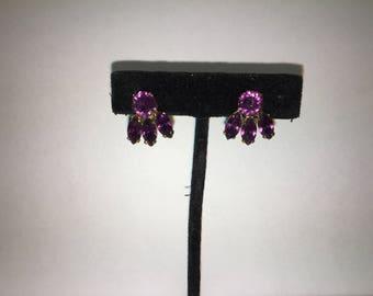 Purple Stone Costume Non-pierced Screwback earrings
