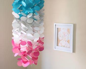 Circle Crib Mobile: Circle. Crib Mobile. Teal, Grey, White, Pink. Decor. Nursery. Baby shower. Birthday gift. Gift. Backdrop.
