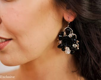 Earrings modern earrings Handmade earrings Dangle earrings Bridal earrings Wedding earrings Statement earrings Silver earrings Long earrings