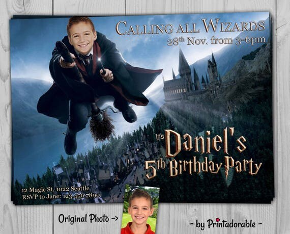 Harry Potter Invitation - Harry Potter Birtday Invite or Party Set, with Invitation, Favor Tag, Address Label and Water Bottle Label