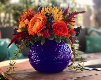 Bold Boho Floral Arrangement Faux Flowers - Small Arrangement // Boho Wedding Flowers