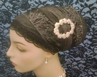 Exquisite silvery sinar tichel, tichels, chemo scarves, head scarves, hair snoods