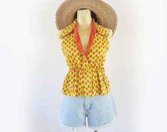 Vintage 70's Bright Yellow + Red Floral Folky Bohemian Peplum Tank Top Size Small