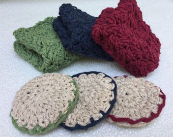 Handmade Crochet Washcloth   Soft wash rags   Crochet bath cloth   Set of three Absorbant soap rag   Three Facial Scrubbies   100% Cotton