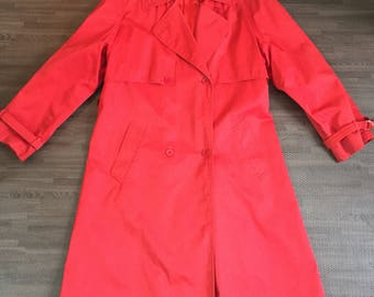 Vintage Red Belted Trench Coat