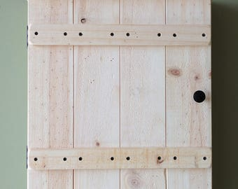 Rustic Unfinished Wall Cabinet with Towel Bar made from Reclaimed and Repurposed Pallet Wood