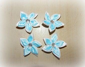 4 light blue 5 petal flower appliques white 5.5 cm