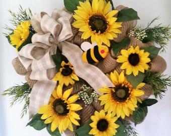 Sunflower Burlap Mesh Front Door Wreath, Sunflower Front Door Wreath, Mesh Wall Decor, Bumble Bee and Sunflower Wreath, Wall hanger