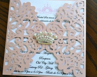 Laser Cut Shimmer Pink Princess Quinceanera/Sweet 16 Invitation