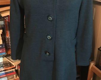 1980's Antonella Preve Blue Green Button Front Sweater Dress