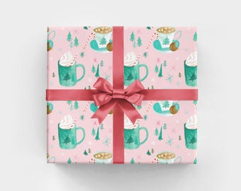 Christmas Wrapping Paper with Hot Cocoa Drinks Feminine Christmas Gift Wrap with Hot Chocolate Hygge Holiday Gift Wrap for Her