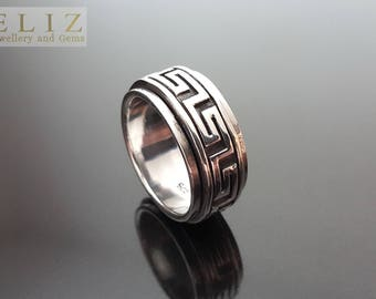 SOLID .925 Sterling Silver Men's Ring Spinner Anti Stress Fidget Meditation Kinetic SIZE 7.75