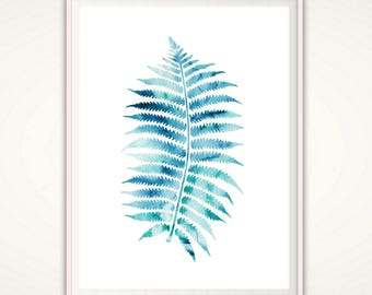 Nature Print, Leaf Print, Tropical Leaf Print, Blue, Print, Watercolor Leaves, Fern Print, Leaf Art, Nature, Fern, Home Decor