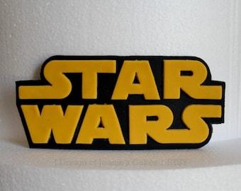 Star Wars Logo Fondant Cake Topper (Golden yellow & black)