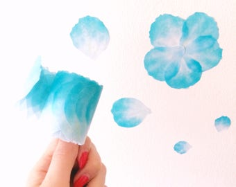 Pretty blue petals washi tape roll // Large size