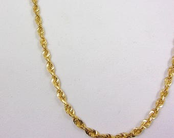 """Solid 18K Yellow Gold 18"""" Rope Link Chain Necklace 2.3mm, 8.2 grams"""
