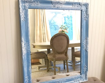 Blue Distressed Bathroom Mirror Vanity French Country Bedroom Wall