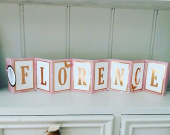 Personalised birthday concertina card. Fairy theme with copper lettering.