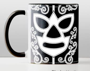 Luchador Mask Mug -  Mexican Wrestling Mascara Lucha Libre Wrestler Black and White Nacho Libre World WWE Impact Wresting by BlazingVault