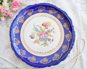 Vintage plate porcelain dish plate Bavaria Germany plate german floral porcelain dish