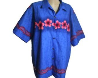ALOHA shirt Vintage Blue Hawaiian shirt Loud Shirt pink floral Shirt exotic print cotton shirt top summer beach shirt size XL shirt
