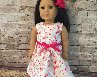 "Pink and Gray Flamingo Dress for 18"" Dolls like American Girl Dolls"