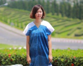 Unique-Handmade-Indigo-Tie-Dye-Casual-Summer-Boho-Women-039-s-Blue-Long-Dress-Size-M