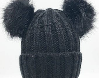Inspired Black Rib Beanie Hat With Double Faux Fur  Pom Poms