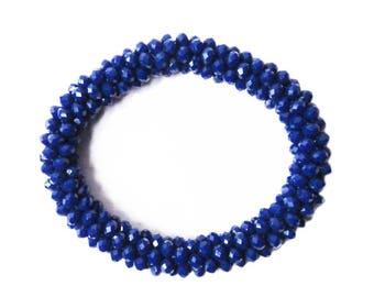 Glittering Handmade Blue Beads Stretchy Rope Bracelet