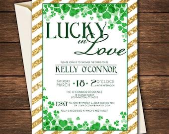 Lucky In Love Bridal Shower | Shamrock Bridal Shower | St. Patrick's Day Bridal Shower Invitation | Lucky in Love Bridal Shower Invitation