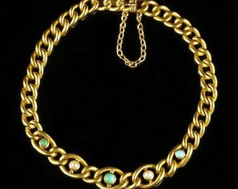 Antique Victorian Turquoise Pearl Bracelet 15ct Gold Circa 1900