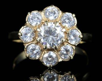 Vintage Paste Cluster Ring 9ct Gold