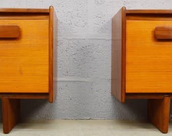 Mid-Century Teak Bedside Cabinets by White and Newton