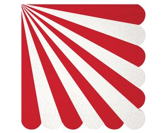 Napkins | Red & White Stripe Small Napkins | 20 Paper Napkins | Beverage | Meri Meri Toot Sweet | Party Supplies | The Party Darling