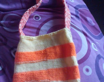 """Yellow and Orange Knitted Bag - 24"""" Strap. Knitted By KittyMumma"""
