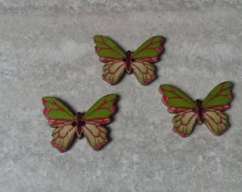 set of 3 butterflies buttons 2 holes embroidery