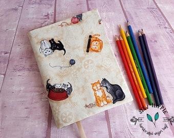 Pet Journal, Pet Lover Gift, Cat Lover Gift, Fabric Notebook Cover, Vegan Journal Cover, Teacher Gift, Custom Journal, Fabric Book Cover