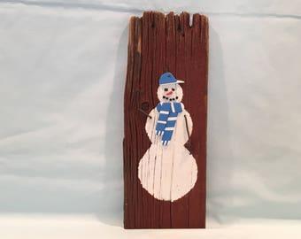 Blue Baseball Cap Snowman