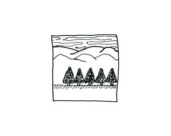"Hand-drawn Artwork Print 6"" x 6"" or 8"" x 8"" - Row of Trees"