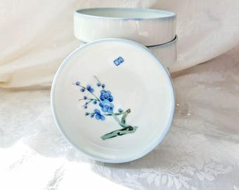 Vintage Japanese Blue and White Porcelain Stacking Bowls set of 5, Signed, Cherry Blossom stacked bowls,