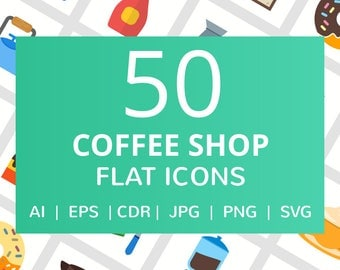 50 Coffee Shop Flat Icons