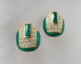 Helena Rubinstien - Golden brass - vintage green enamel bracelet - rhinestones