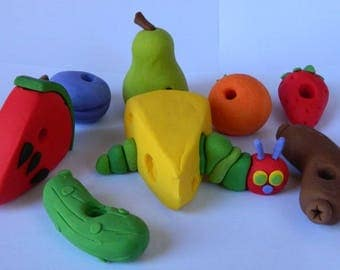 8 edible 3D HUNGRY CATERPILLAR FRUIT sausage pickle cheese cake topper decorations fruit party wedding anniversary birthday story book