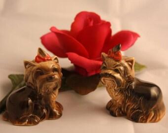 Vintage dog figurines, pair of Goebel figurines, Yorkshire Terrier Figurines. porcelain dogs, puppy figurines,