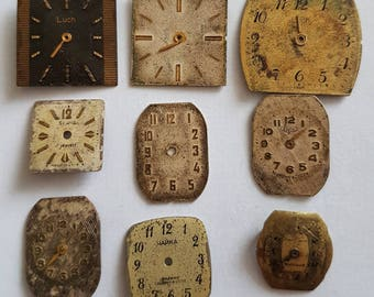 Vintage watch faces/findings enamel watch pocket