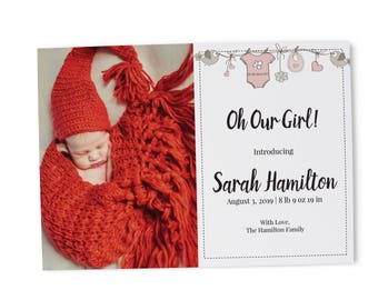 Baby Birth Announcement Card, Baby Announcement Cards, Personalized and Custom Welcome Baby Birth Announcement Cards B4